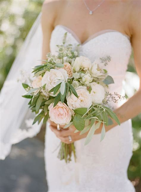 Simple Bridesmaid Flowers by Simple White Green And Blush Wedding Bouquet From Willi