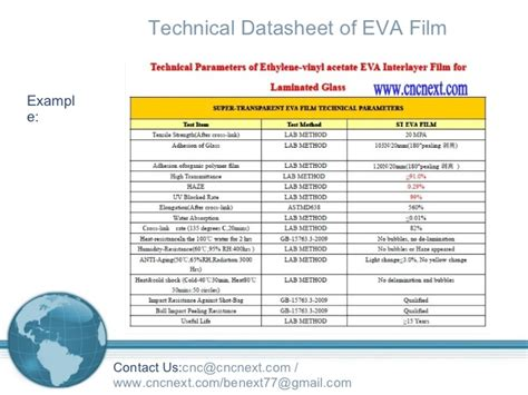 Ethylene Vinyl Acetate Data Sheet - howto test properties characteristics of glass lamination