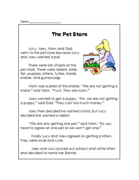 printable toddler stories the pet store reading comprehension shops