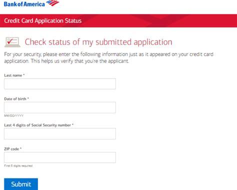 check bank of america credit card application status