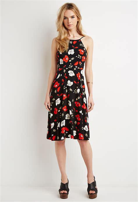 Dress Blackred 16083 lyst forever 21 open back poppy print dress in