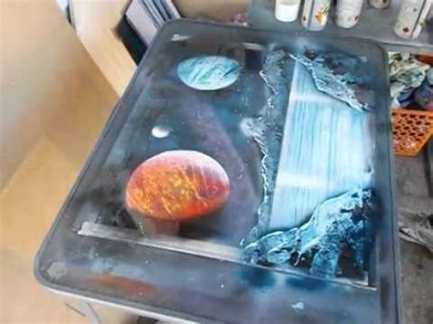 Spray Paint Demonstration Of Planets Mountains And