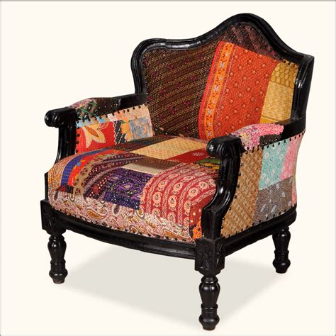 Overstuffed Armchairs by Federal Mango Wood Patch Quilt Upholstered Overstuffed