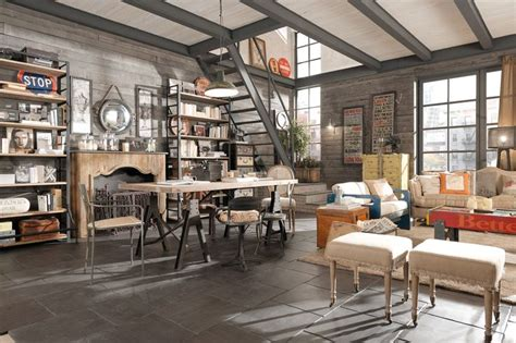 arredamento country vintage industrial loft urban shabby chic dialma brown industrial
