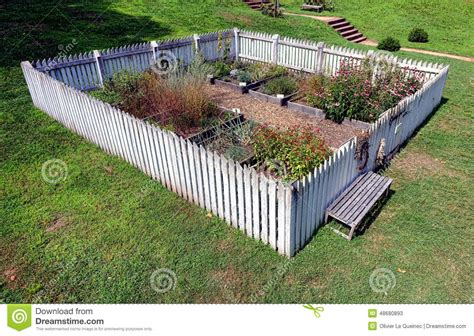 Colonial Garden With Raised Vegetable Plant Beds Stock