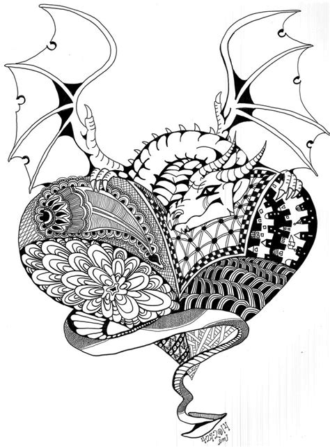 dragon heart coloring page dragon love zentangle adult colouring hearts love