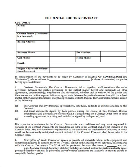 roofing contract template 9 documents in pdf