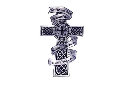 celtic cross with ribbon tattoo 46 celtic cross tattoos designs
