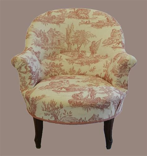 toile armchair c19 french louis armchair fauteuil linen toile de jouy recently re upholstered slipper chair in
