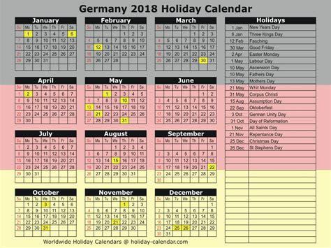 Calendar Holidays 2018 Germany 2018 2019 Calendar