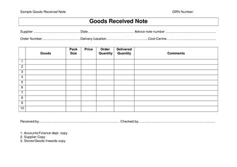 receipt of goods form template goods receipt note grn format template
