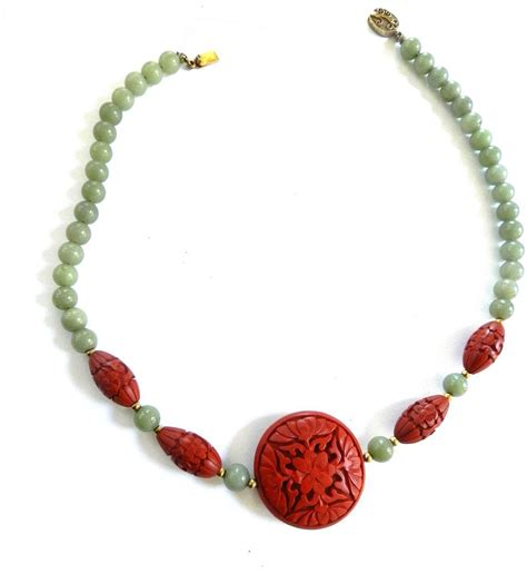 jade bead necklace vintage carved cinnabar and jade bead necklace