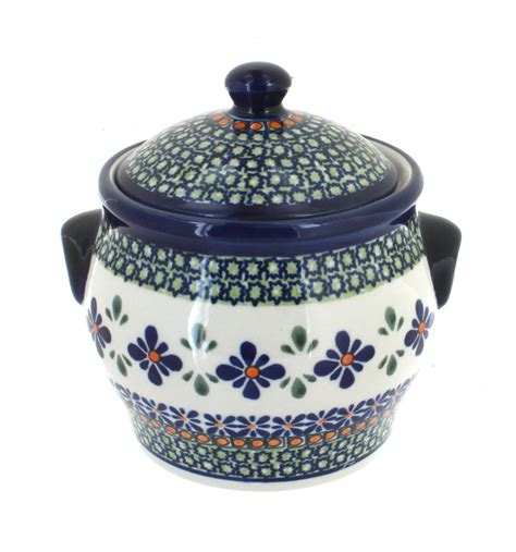 Large Mosaic Canister blue pottery mosaic flower small canister