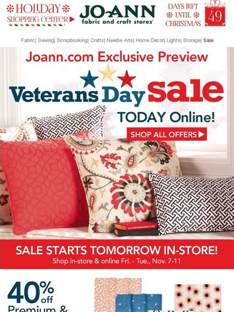 Joann Fabric Gift Card Online - jo ann fabric and craft store exclusive online preview veterans day sale starts