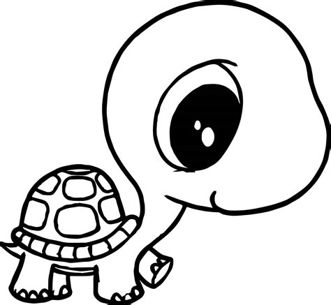 cool big head small body tortoise turtle coloring page
