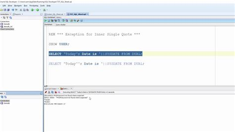 tutorial oracle sql developer oracle sql developer tutorial for beginners 96 exception