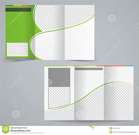 tri fold business brochure template vector green stock