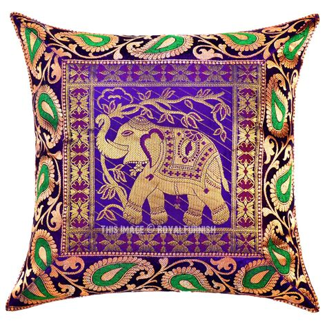 Silk Decorative Pillows Purple Kerala Elephant Decorative And Accent Silk Throw