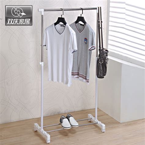 metal hanger clothes hanging drying rack single rail