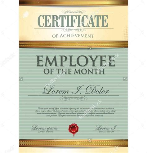 employee of the month certificate templates template