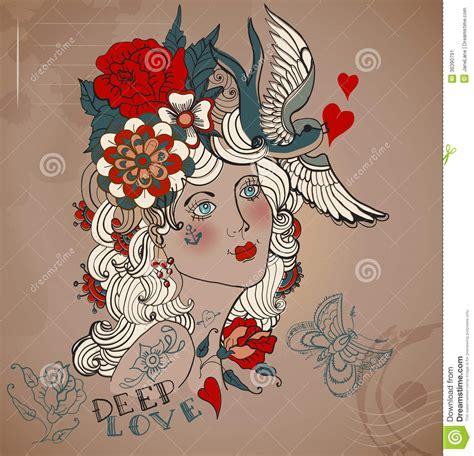 old styled tattoo woman valentine illustration