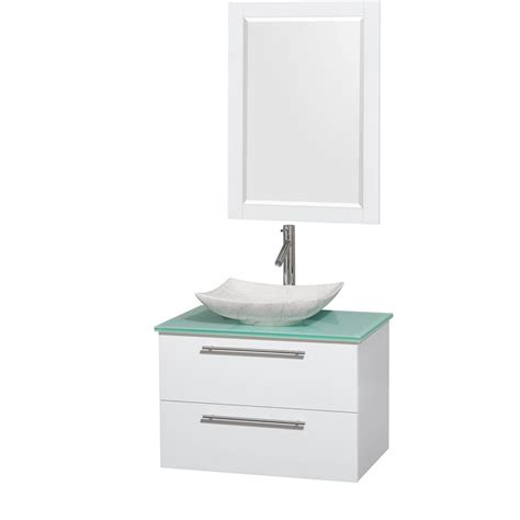 Green Glass Vanity Top by Wyndham Collection Amare 30 In Vanity In Glossy White