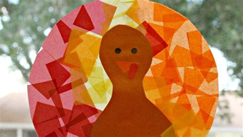 Stained Glass Paper Craft - tissue paper stained glass turkey craft