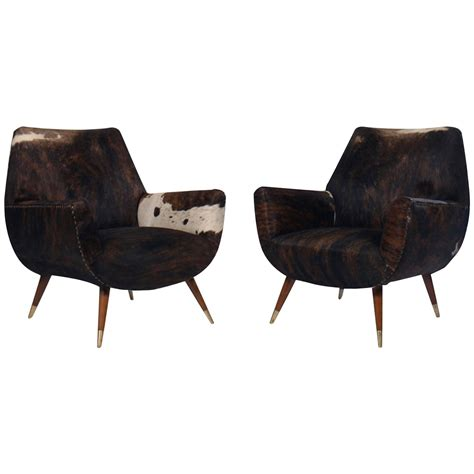 modern cowhide furniture italian mid century modern club chairs covered in cowhide