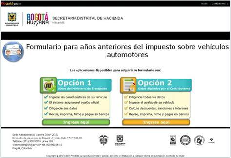 secretaria hacienda cundinamarca impuestos vehiculos impuestos veh 237 culos bogota impuestos vehiculos bogota