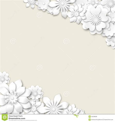 Wedding Background And White by Abstract Wedding Background With White 3d Flowers Stock