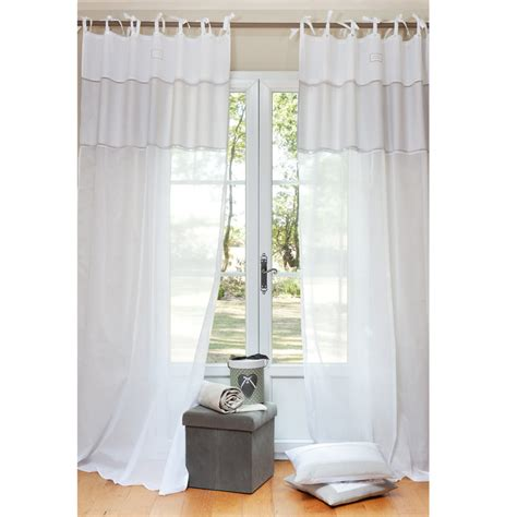 White Tie Top Curtains Coton D Autrefois Cotton Tie Top Curtain In White 140 X 250cm Maisons Du Monde