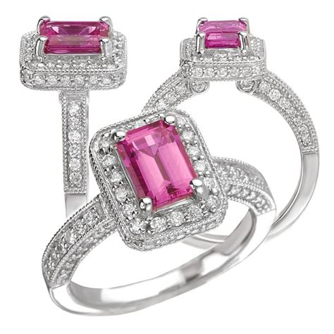 18k elite collection chatham 7x5mm emerald cut pink
