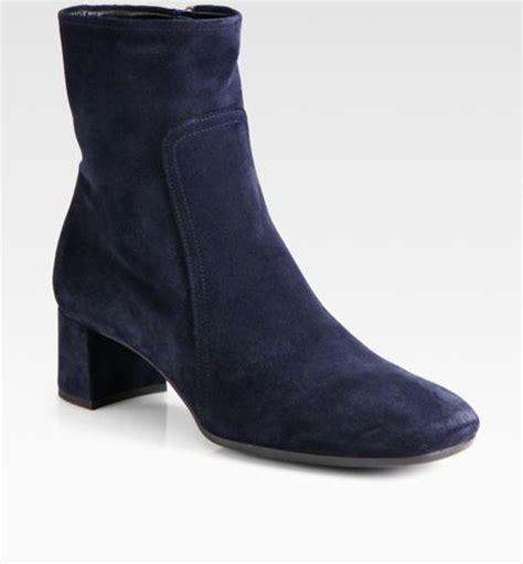 prada suede block heel ankle boots in blue lyst