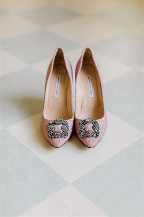 Sparkly Bridal Shoes by Picture Of Sparkly Pink Bridal Shoes By Manolo Blahnik