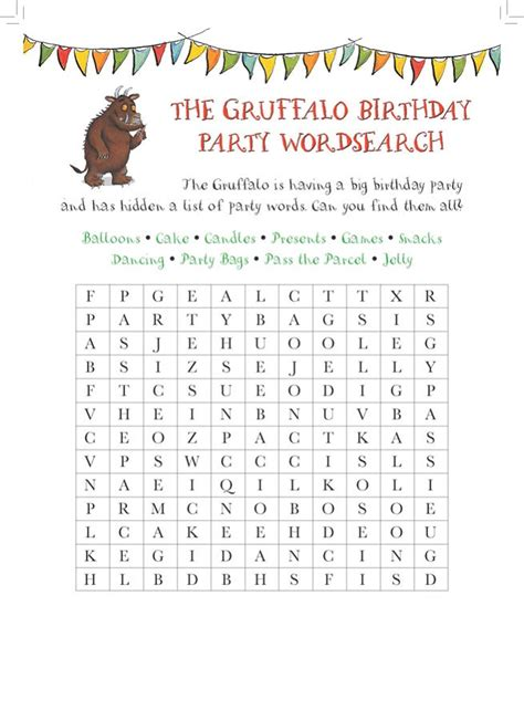 Search Birthday Printable Birthday Word Search Activity Shelter