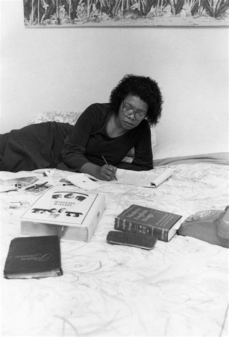 Author Maya Angelou prefers to work sprawled across her