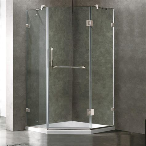 Neo Angle Frameless Shower Door Vigo Piedmont 36 125 In X 76 75 In Frameless Neo Angle Shower Door In Chrome With Clear Glass