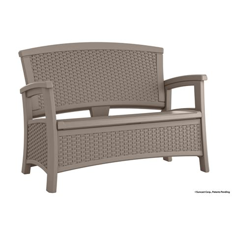 suncast patio bench shop suncast suncast elements 29 75 in w x 47 in l taupe resin patio bench at lowes com