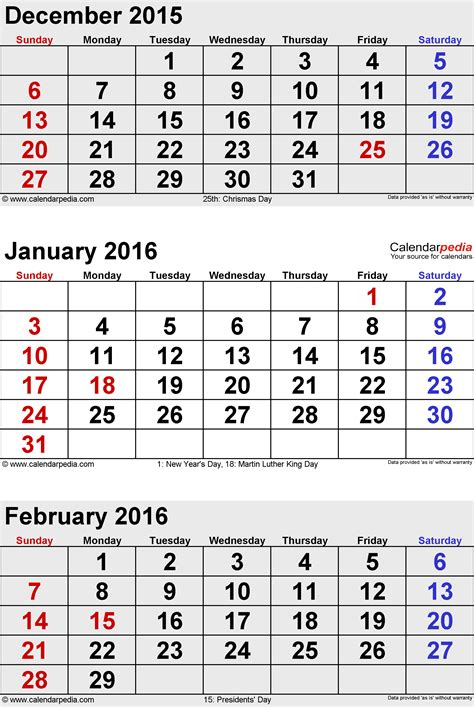 Calendã S February 2016 Calendars For Word Excel Pdf
