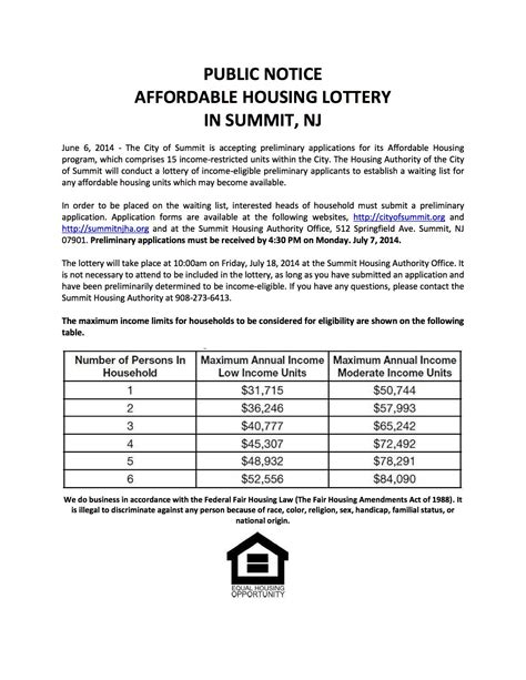 housing apps summit housing authority accepting applications for affordable housing lottery news