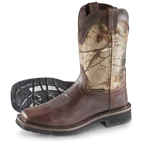 mens square toed boots justin s rugged cowhide stede waterproof square