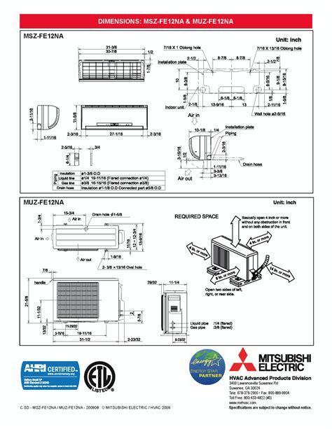 Mitsubishi MSZ FE12NA 23 SEER Ductless Mini split Air conditioning heat pump   eBay