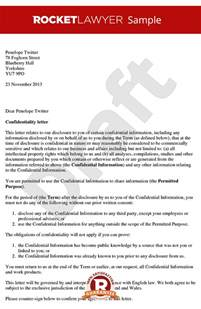 Letter Of Agreement Confidentiality Letter Of Confidentiality Create A Simple Confidentiality Letter