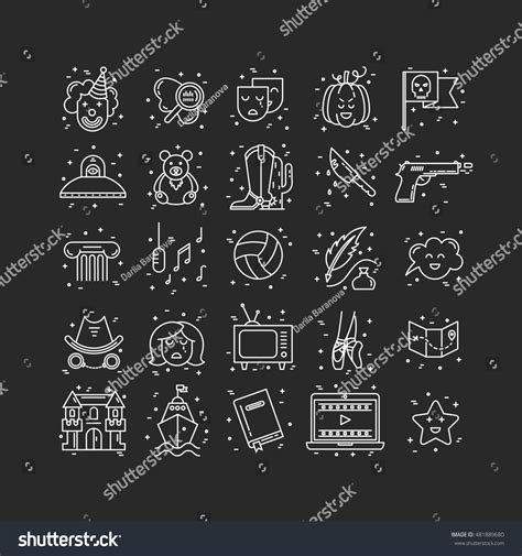 fantasy film genre elements vector set movie genres line icons stock vector 481889680
