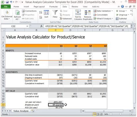 excel costing template value analysis calculator template for excel powerpoint