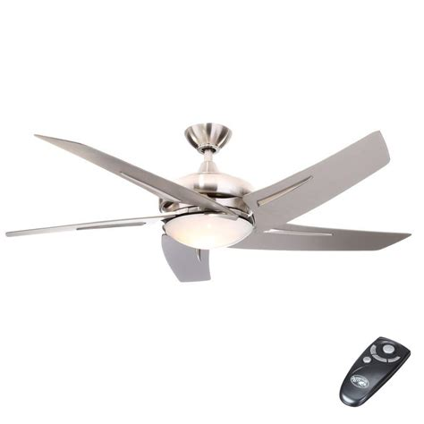 ceiling fan with light and remote hton bay sidewinder 54 in indoor brushed nickel