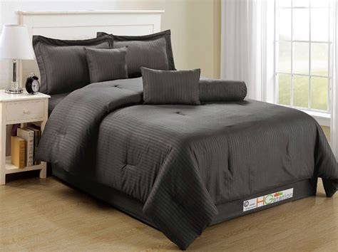 dark grey bedding 7 pc elegant classic damask stripe soft plush comforter