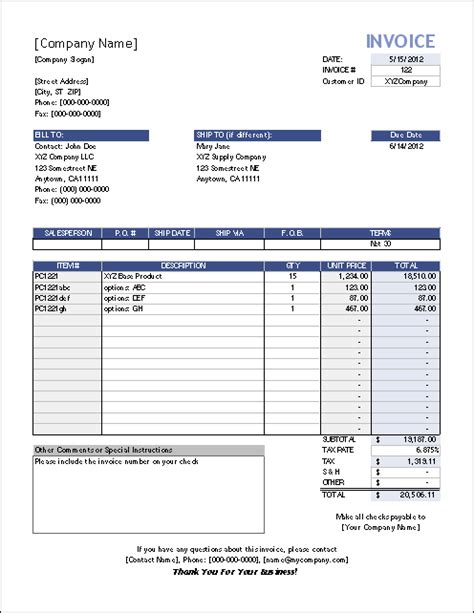 Vertex42 Invoice Assistant Invoice Manager For Excel Sle Invoice Template
