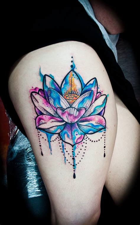 watercolor lotus flower on girls thigh best tattoo
