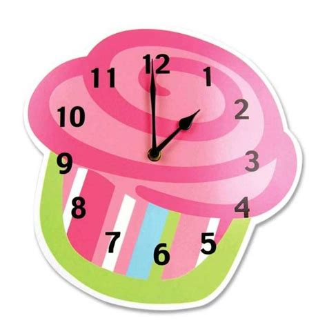 Ikea Sofa Orange Cupcake Wall Clock For Kids Girls Bedroom Also Pink Paint